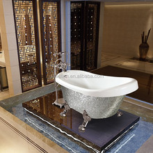 Good quality silver acrylic freestanding small european bathtub with clawfoot
