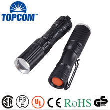 AA Battery Zoomable Mini Torch LED 3W Flashlight with Pocket Clip