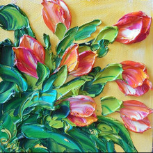 Creative Artists Hand Painted 3d Flower Oil Picture, Knife Oil Painting for Office Home Decoration