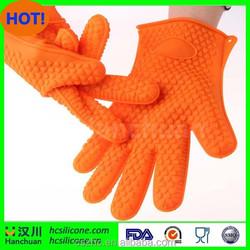 Hot sale non-slip five fingers silicone BBQ grill oven mitt