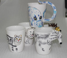 Custom promotion various animal (giraffe, monkey, cat and deer, etc. ) shaped 3d ceramic coffee mug
