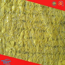 Hot Sale Super Soft Thick Yellow Sequins Lace Fabric For Garment