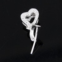 New Heart shaped unique 925 silver diamond wholesale jewelry findings
