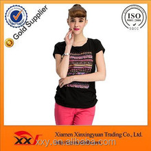 Women fine seamless 100% cotton t-shirt market factory in china