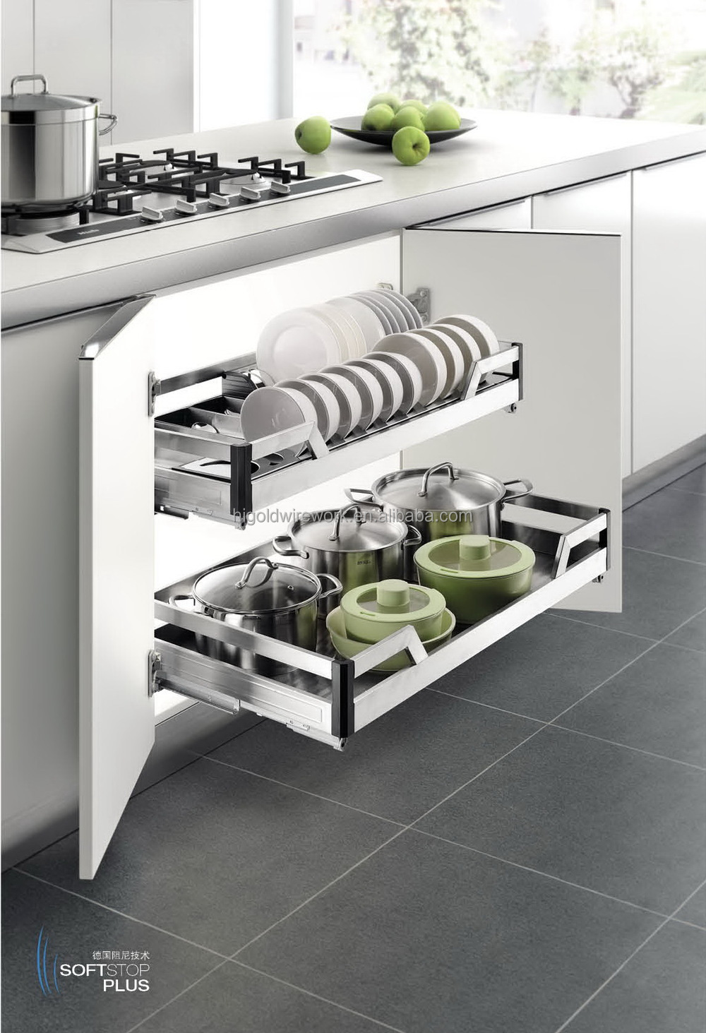 Moderne keukenkast trek mentale plaat mand-keuken opslag-product ...