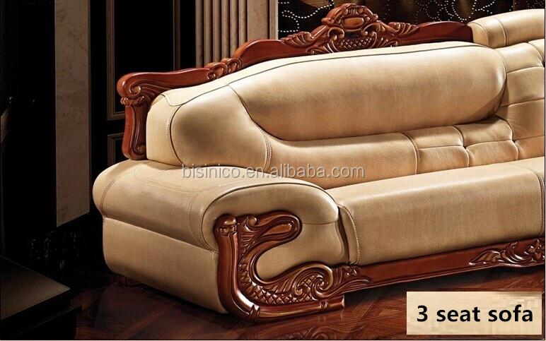 Europese stijl sofa woonkamer set, hoek lederen bank en chaise ...