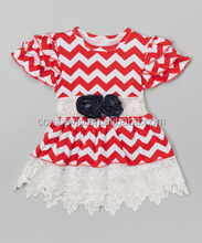 red chevron stripes with lace ruffle dresses for 2-8 years girl wholesale cheap summer clothing