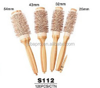 Wooden Hair Brush With Boar Bristle Mix Nylon Styling Tools