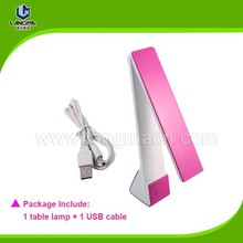 Foldable dimmable touch LED table lamp LM12B with USB charge cable to recharge for home or office