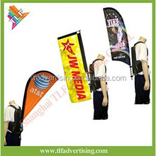 Human walking bow teardrop flag backpack beach feather flag