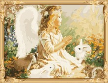 GX7275 wall art little girls angel picture oil painting by numbers for home decor