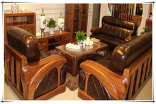 solid wood carving office sofa set