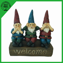 "10"" Garden Decorative Outdoor Polyresin Gnomes Statue W/ welcome"
