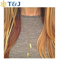 s>>>>2015 New Vintage Steampunk New Leaf Plated Gold Sweater Chain Necklace Long Necklaces Jewelry For Women Wholesale
