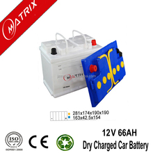 Famous Brand Matrix 12V 66AH dry charged sealed lead acid DIN car battery best terminal