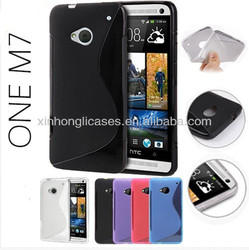 Slim Fit Soft Gel Skin S Line Wave TPU Case Cover for HTC One M7