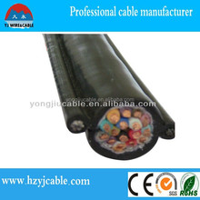 steel lifting cables for hoist controling/with steel rope 12 core round travelling cable