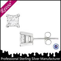 Solid Sterling Silver .925 Basket Set Princess Cut Square AAA CZ Stud Earrings