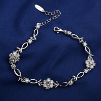 Best sales product crystal with chain bracelet deaign popular birthday gift for lover