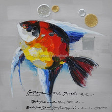 handmade fish art canvas oil painting for home decoration