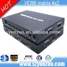 HDMI 4x2 HD 3D True Matrix Switch Splitter 1080p 4 In 2 Out 1.4 w/ IR Remote NEW