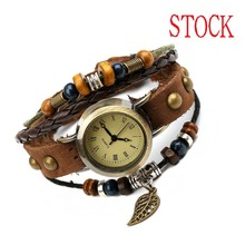 Manufacturers selling coffee multilayer beaded fashion leaves Vintage leather bracelet watch