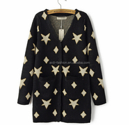 fancy V neck long sleeve buttoned long sleeve women stars cardigan