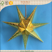 Home decoration hanging gold foil 7 points origami paper star lantern