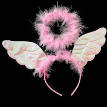 Wholesale pink carnival wings craft supplies large feather angel wings QFW-1020