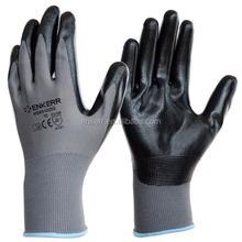 black nitrile palm coated glove 13G grey nylon glove with nitrile coating