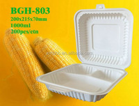 1000ml disposable biodegradable fast food container with 3 compartments