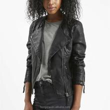 Faux Leather Quilted Detail Biker Jacket Latest Woman Leather Biker Jacket HSJ6407