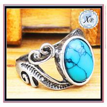 Precio de fábrica Bijoux anillo de la turquesa anillo de piedra azul