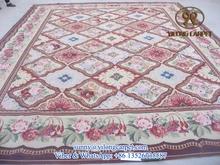 large handmade Aubusson rug flat weave french customized sheep wool carpet