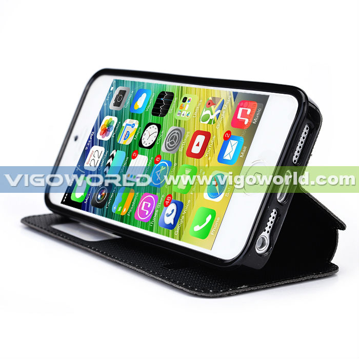 2014 alibaba China leather phone case for iPhone 6 dual color with smart view window