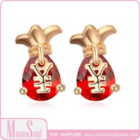 Moonsoul wholesale New Style The Lucky Purse 2 colors Champagne gold Plated AAA CZ Earrings for women 15E10051