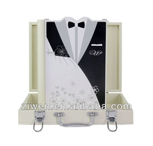 Royal digital wedding album cover fashion wooden photo album with leather case