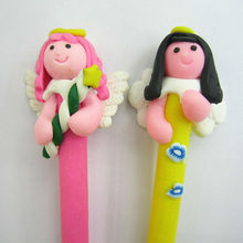 Polymer Clay Fimo angel girl holding wand Pen