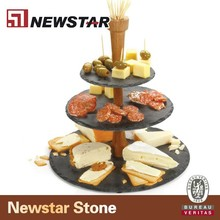 High quality china stone cheap black slate dinner plate