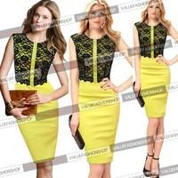 новые женщин элегантный цветочный крючком кружева colorblock туника вечерняя партия бизнес случайный bodycon платье и сдвиг 561