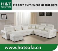 White leather corner sofa, corner sofa with head rest, U shape corner sofa