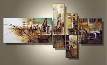 2015 newest design Abstract street scence oil painting for kids room Abstract group canvas painting