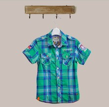 D70052H 2015 Summer Hot sale cotton short sleeved shirt in plaid shirt for boy with wholesale price