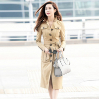 Top quality big brand women's khaki trenday pocket trench coat for girls new runway style OEM service