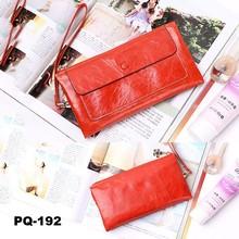 Orange Women's Genuine Leather Wallet Clutch Purse Long Handbag Card Holder Checkbook cover