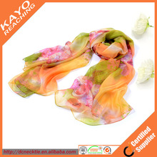 2015 popular silk or polyester chiffon custom printed scarves
