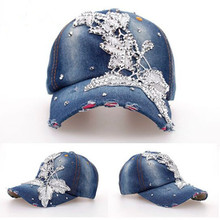 Fashion baseball caps in los angeles with rhinestone butterfly