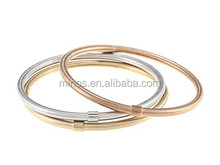 Gold Bangle For Baby, Stainless Steel Tri-color Hollow Bangle Set