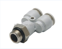 PX Branch One Touch Y Brass Pneumatic Tube Fittings,plastic body and sleeve black connect tube brass air fittings