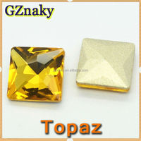 Color Topaz 12*12mm crystal stones faceted square